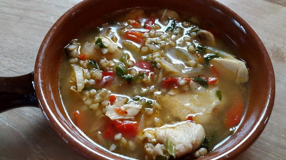 BoekweitStew met champignons, paprika en spinazie.