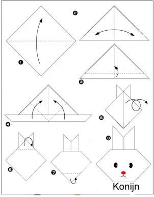 het origami konijn een knutselidee voor pasen. Black Bedroom Furniture Sets. Home Design Ideas
