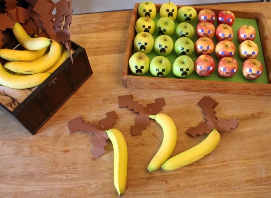 Fruit Minecraft style!!!  Een gezonde verjaardag traktatie voor kinderen op school: